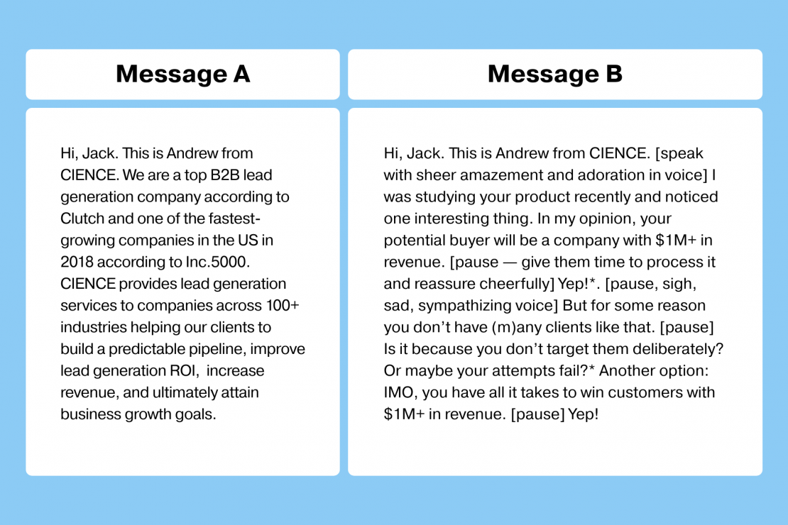You- vs Me- message in cold calling scripts