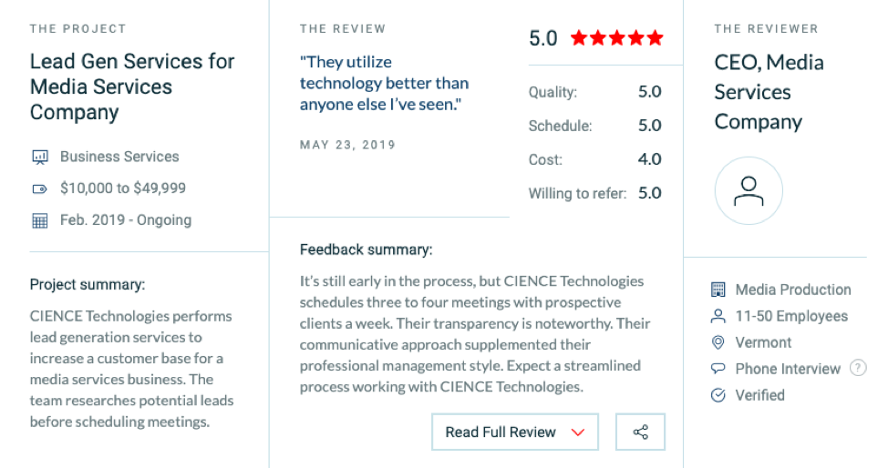 CIENCE Clutch Review - Media Services