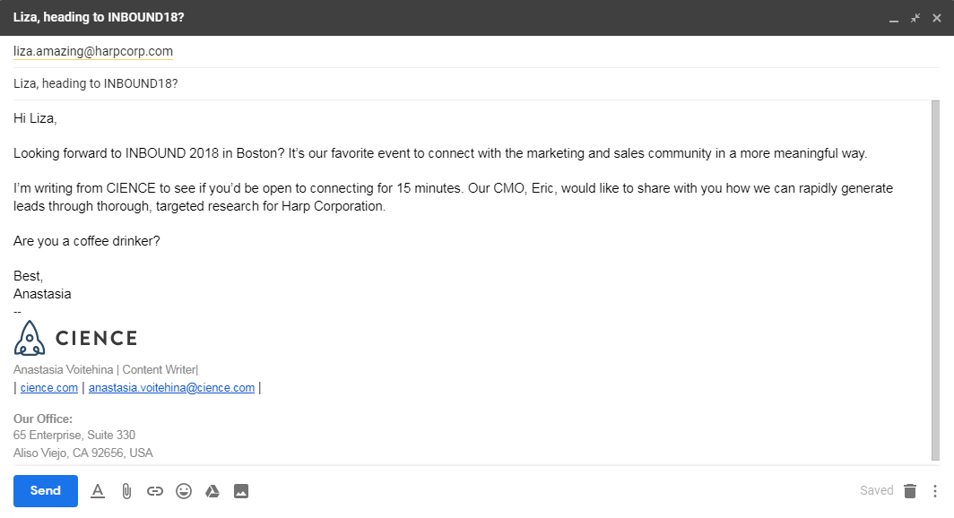 event lead generation: example of email outreach