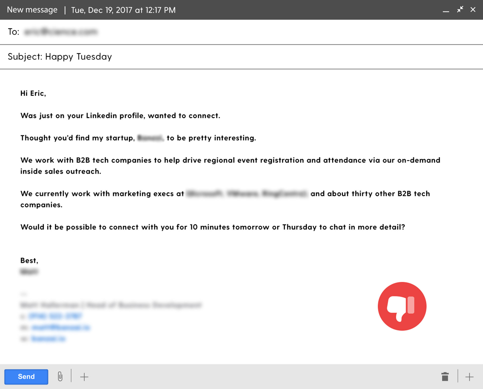 example of a self-centric sales email