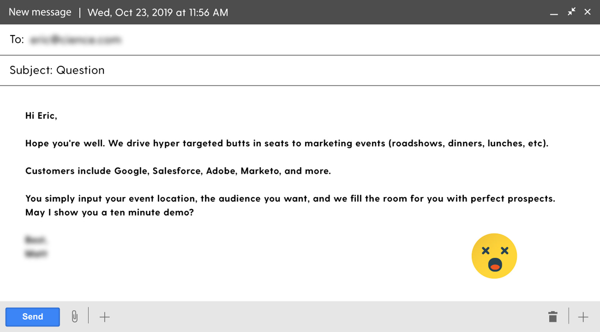 sales email example - how not to write cold emails