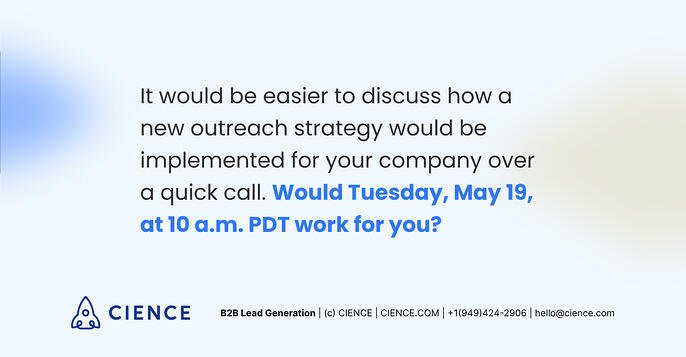 Cold email call-to-action example