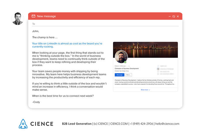 Example of a personalized sales email Sales email personalization example - use compliments