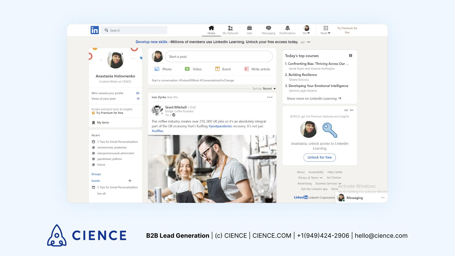 LinkedIn interface example