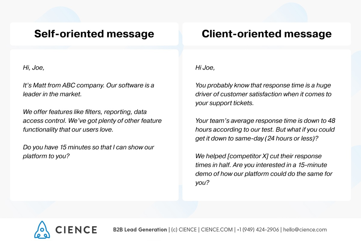 How to write a value proposition message? Self-oriented vs Client-oriented message